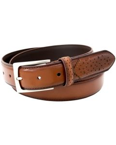 Florsheim 2093 - 32mm Full-Grain Leather Wing Tip Perforated Tail Dress Belt - Saddle Tan