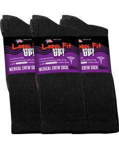Loose Fit Stays Up! Black Medical Crew Socks to EEEEE - 3pack