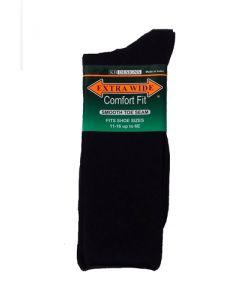 Extra Wide Black Dress Socks