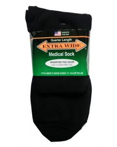 Extra Wide Black Diabetic / Medical Quarter Socks to 6E