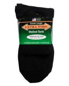 Extra Wide Black Diabetic / Medical Quarter Socks to 6E