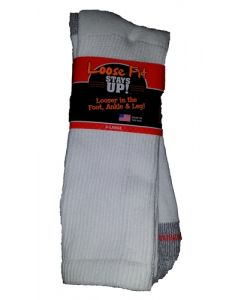 Loose Fit Stays Up! White Crew Socks to EEEEE - Single Pair