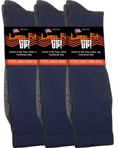 Loose Fit Stays Up! Navy Crew Socks to EEEEE - 3pack