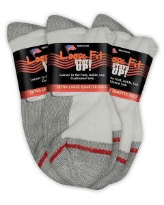 Loose Fit Stays Up! White Quarter Socks to EEEEE - 3pack