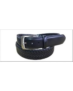 Danbury 35mm Leather Braided Dress Belt - Black