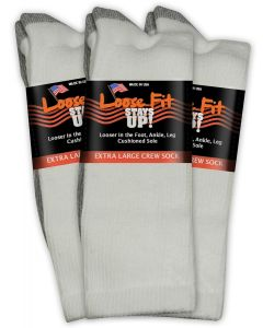 Loose Fit Stays Up! White Crew Socks to EEEEE - 3pack