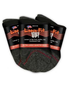 Loose Fit Stays Up! Black Quarter Socks to EEEEE - 3pack