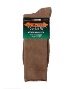 Extra Wide Dress Socks - Tan