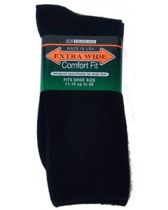 Extra Wide Black Athletic Crew Socks to 6E