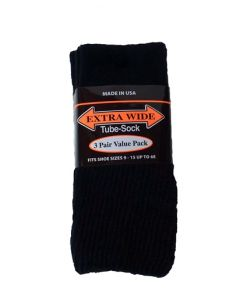 Extra Wide Black Tube Socks to 6E - 3 pack