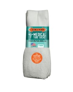Extra Wide Medical Tube Socks - White - EEEEEE - 3 pack