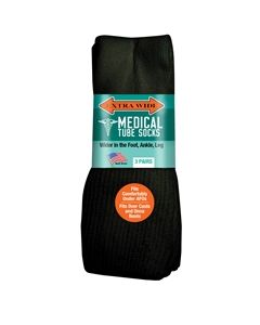 Extra Wide Medical Tube Socks - Black - 6E - 3 pack