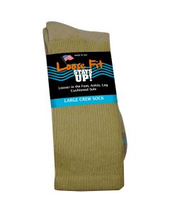 Loose Fit Stays Up! Tan Crew Socks to EEEEE - Single Pair