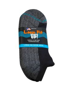 Loose Fit Stays Up! Black No Show Socks - Single Pair