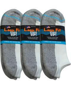 Loose Fit Stays Up! White No Show Socks - 3pack
