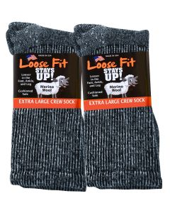 Loose Fit Stays Up! Black Crew Socks to 5E - 3pack