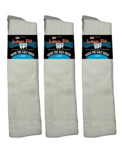 Loose Fit White Over the Calf Socks to EEEEE - 3pack