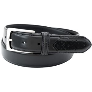 Florsheim 2092 - 32mm Full-Grain Leather Wing Tip Perforated Tail Dress Belt - Black