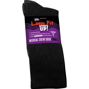 Loose Fit Stays Up! Black Medical Crew Socks to EEEEE - Single Pair