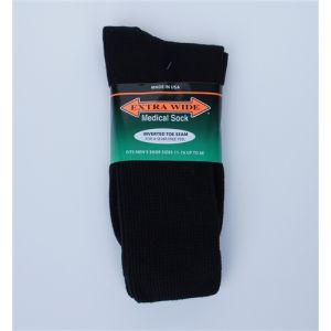 Extra Wide Black Diabetic / Medical Crew Socks to 6E