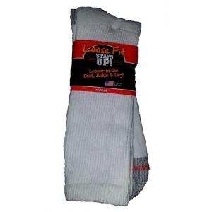 Loose Fit Stays Up! White Crew Socks to EEEEE - Single Pair
