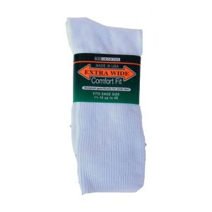 Extra Wide White Athletic Crew Socks to EEEEEE