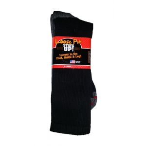 Loose Fit Stays Up! Black Crew Socks to 5E - Single Pair