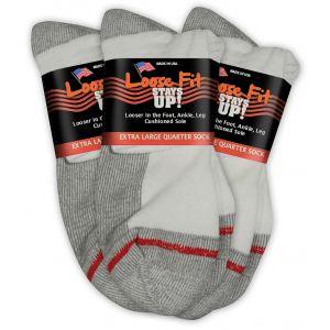 Loose Fit Stays Up! White Quarter Socks to EEEEE - 3pack