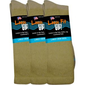 Loose Fit Stays Up! Tan Crew Socks to EEEEE - 3pack