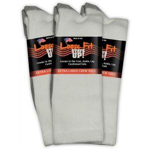 Loose Fit Stays Up! White Crew Socks to EEEEE - 3pack