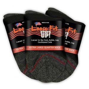 Loose Fit Stays Up! Black Quarter Socks to EEEEE - 3pack