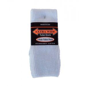 Extra Wide White Tube Socks to EEEEEE - 3 pack