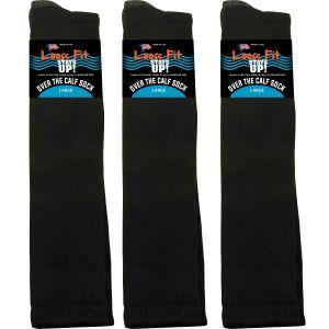 Loose Fit Black Over the Calf Socks to EEEEE - 3pack
