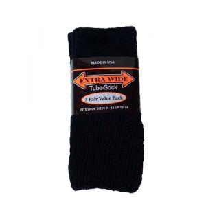 Extra Wide Black Tube Socks to 6E - 3 pack