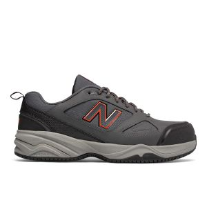 New Balance Steel Toe 627v2 Athletic Work Shoes - Grey with Orange