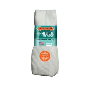 Extra Wide Medical Tube Socks - White - EEEEEE - 3 pack