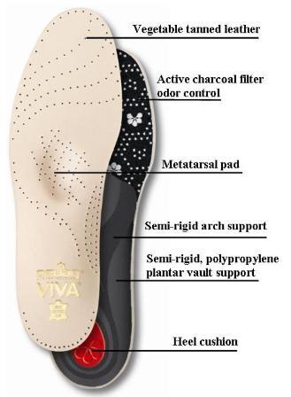 semi-rigid arch, heel and metatarsal support